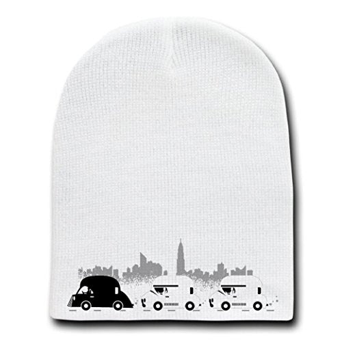 'On The Road' Funny Space Movie Parody Motorcade - White Beanie Skull Cap Hat