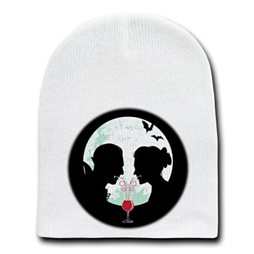 'Bloody Couple' Vampire Date Silhouettes w/ Moon & Bats - White Beanie Skull Cap Hat