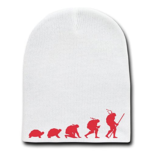 'Evolution' Funny Transformation Fighting Turtles Parody - White Beanie Skull Cap Hat