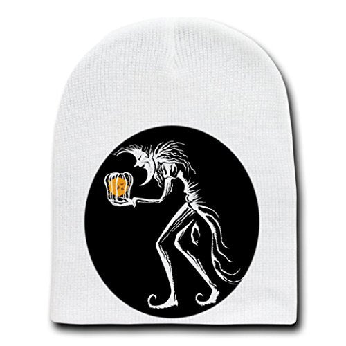 'Kidnap' Evil Moon Stealing Sun in Cage - White Beanie Skull Cap Hat