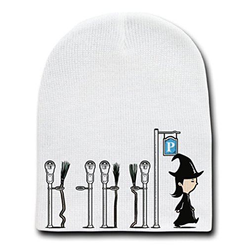 'Parking' Funny Witch Broomstick Parking Lot Humor - White Beanie Skull Cap Hat