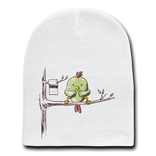 'Public Toilet' Funny Bird in Tree w/ Toilet Paper Roll - White Beanie Skull Cap Hat