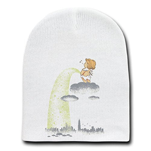'Rainy Day' Funny Baby Angel Pee on City - White Beanie Skull Cap Hat