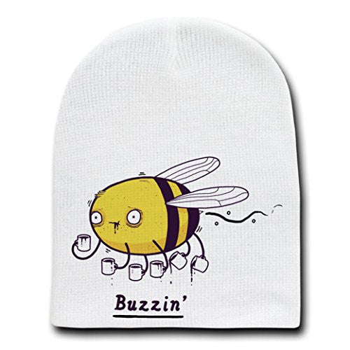 'Buzzin' Funny Bumblebee Drinking Coffee Brew - White Beanie Skull Cap Hat