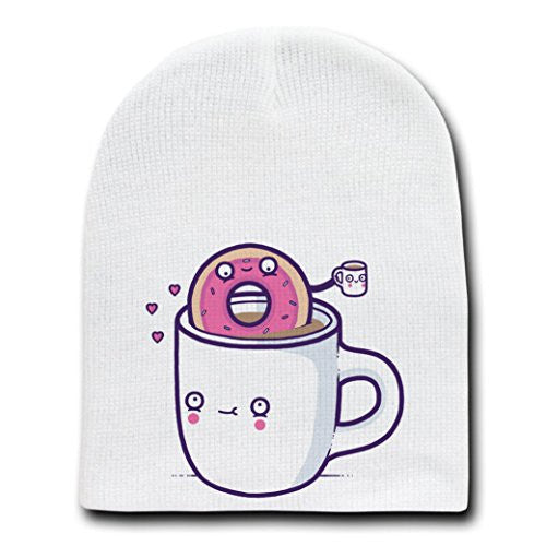 'Coffee With Friends'Funny Coffee Mug&Donut Drinking Brew-White Beanie Skull Cap/Hat
