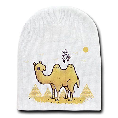 Funny Bunny Skateboard Jumping Over Camel Humps-White Beanie Skull Cap/Hat