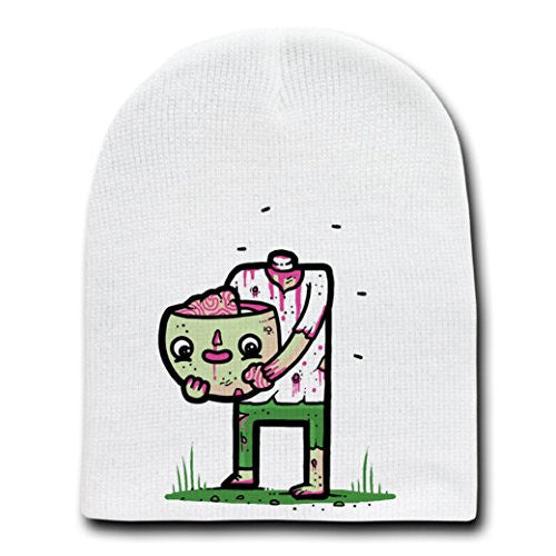 'Self Sufficient' Funny Zombie Eating His Own Brain - White Beanie Skull Cap Hat