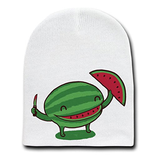 'Slice of Happiness'Watermelon w/Smile Shape Slice Cut Out-White Beanie Skull Cap Hat