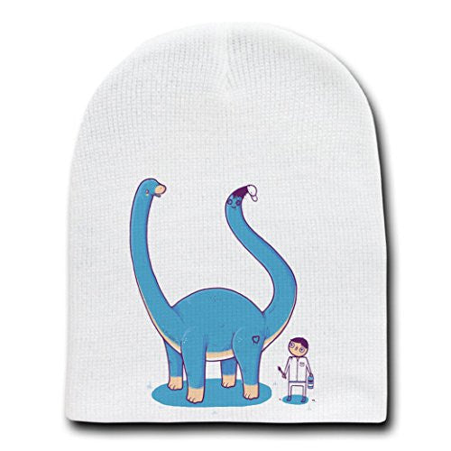 'Someone On Your Level' Brontosaurus w/ Painted Tail - White Beanie Skull Cap Hat
