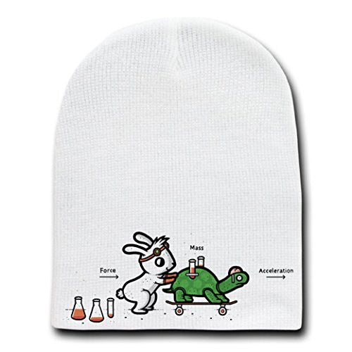'Using Force' Funny Bunny Rabbit & Turtle Physics Humor - White Beanie Skull Cap Hat