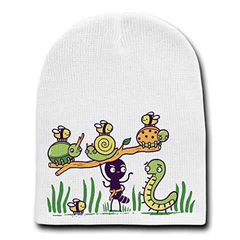 'Ant Strong Man' Cute Insect Bug Muscles - White Beanie Skull Cap Hat