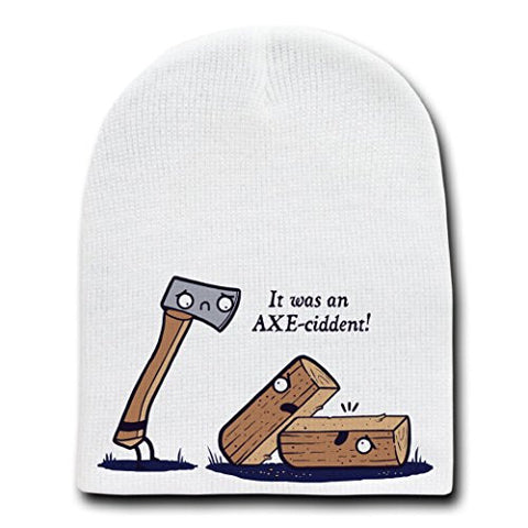 'Axeciddent' Pun Humor Cartoon Axe & Wood - White Beanie Skull Cap Hat