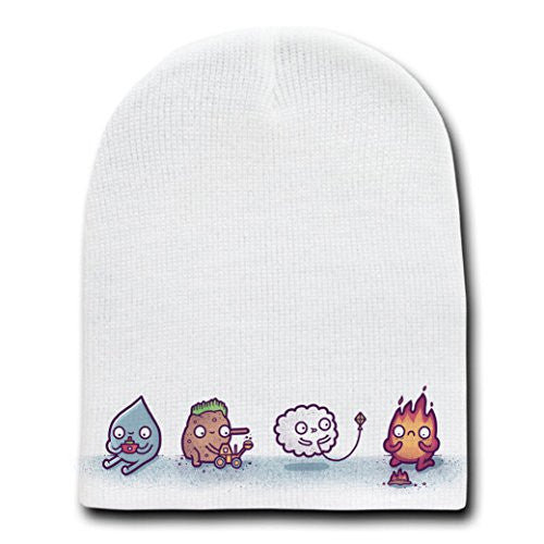 'Elemental Playtime' Earth, Air, Fire & Water Humor - White Beanie Skull Cap Hat