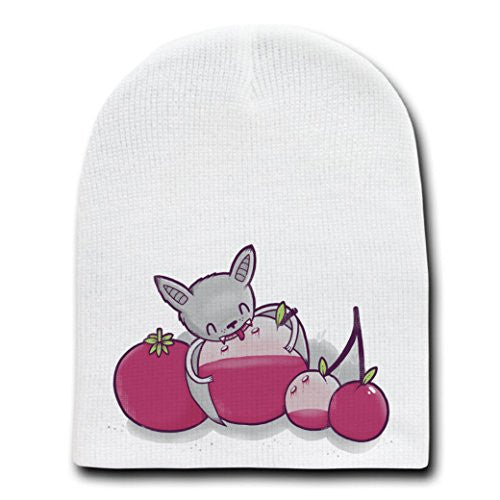 'Fruit Bat' Mashup Humor - White Beanie Skull Cap Hat