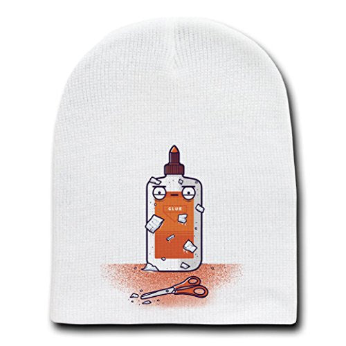 'Glue Do You Think You Are?' Craft Pun - White Beanie Skull Cap Hat