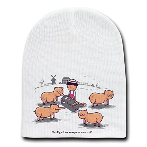 'How Sausages Are Made' Pig Farm Humor - White Beanie Skull Cap Hat