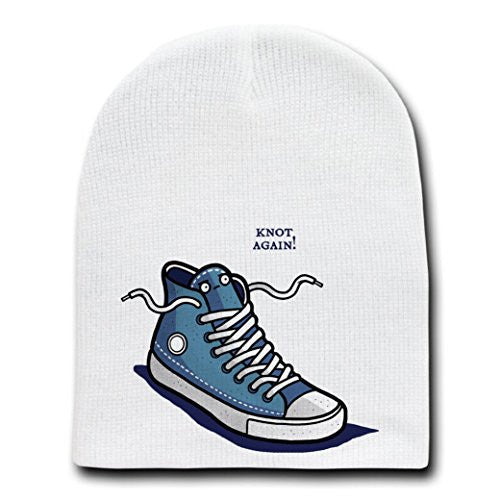 'Knot Again' Shoe & Laces Humor - White Beanie Skull Cap Hat