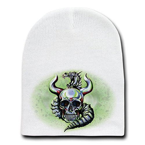 Metallic Dragon w/ Skull & Horns - White Beanie Skull Cap Hat