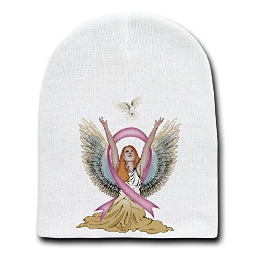 Angel & Dove Breast Cancer Awareness Ribbon - White Beanie Skull Cap Hat