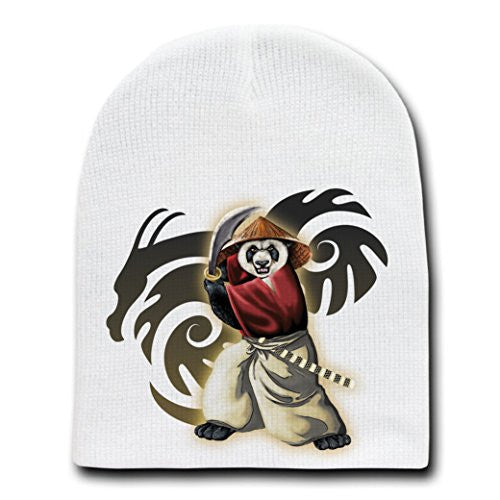 'Panda Warrior' Bear Ninja w/ Sword & Hat - White Beanie Skull Cap Hat