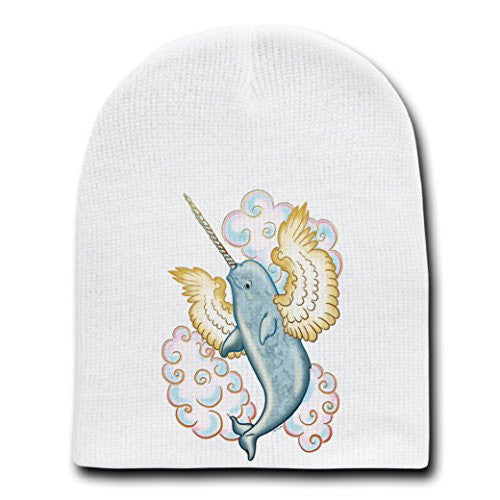 Flying Whale Narwhal Flying w/ Wings in Clouds - White Beanie Skull Cap Hat