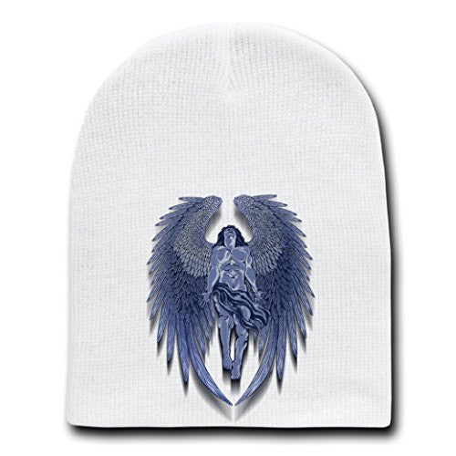 Winged Man Angel Blue Design Artwork - White Beanie Skull Cap Hat