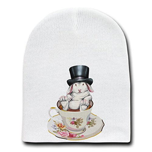 Rabbit Hole Funny Bunny in Teacup w/ Top Hat - White Beanie Skull Cap Hat