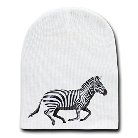 Zebra Running Animal Design - White Beanie Skull Cap Hat