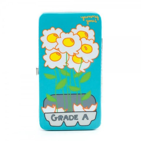 Yummy You Egg Flowers Juniors Blue Hinge Wallet