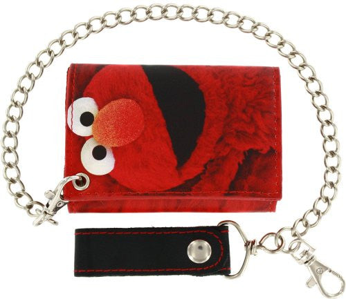 Sesame Street Elmo Large Face Logo Printed Tri-fold Chain Wallet
