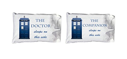 THE Doctor and Companion Tardis Police Box Colorful Pillow Case Pillowcase SET