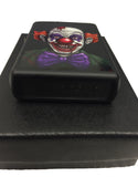 Zippo Custom Lighter - Terrifying Cartoon Clown - Matte Black