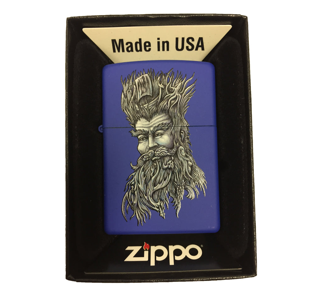 Zippo Custom Lighter - Posiedon with the Sea in His Hair - Blue Matte