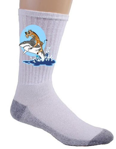 Pirate Giraffe on Shark Jumping Out of Water Logo - Crew Socks