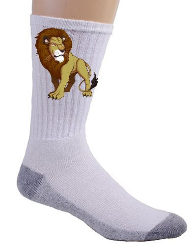 Lion King of the Jungle Cat Feline Logo - Crew Socks