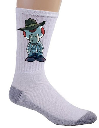 Video Game Parody 'Walking Plumbers' As Carl Zombie Dead Tv Show Logo - Crew Socks