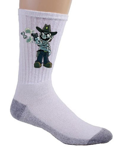 Video Game Parody 'Walking Plumbers' As Sheriff Rick Zombie Dead Tv Show Logo - Crew Socks