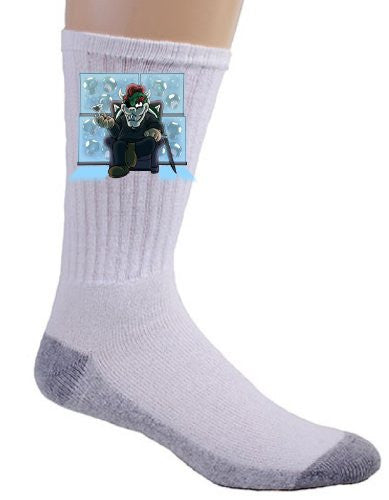 Video Game Parody 'Walking Plumbers' As Governor Zombie Dead Tv Show Logo - Crew Socks