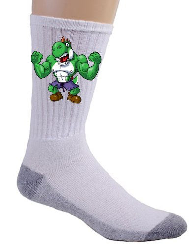 Video Game Parody 'The Plungers' As the Green Strong Monster Comic Super Hero Movie Logo - Crew Socks