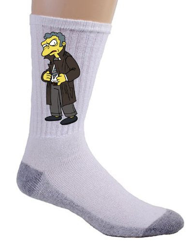 Cartoon Tv Show 'Moe Stamper' Parody of Politcal Tv Show Logo - Crew Socks
