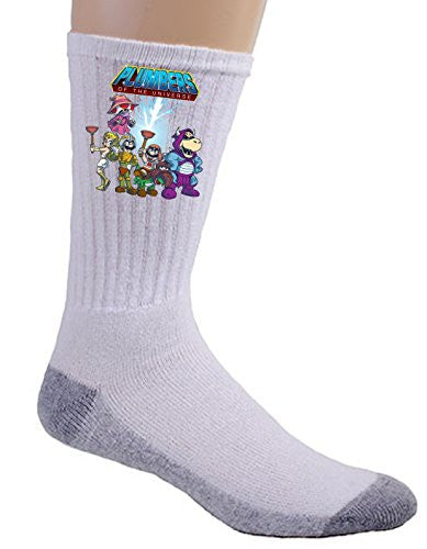 'Plumbers of the Universe' Funny Video Game & Cartoon Parody - Crew Socks
