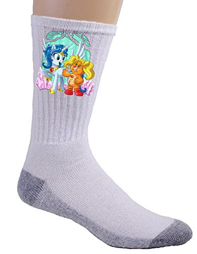 'Enchanted Sun Moon Meeting' Funny Animal Cartoon Parody - Crew Socks
