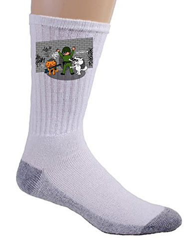 'Bad Cats w/ Cop' Funny Cartoon Tagged Brick Wall - Crew Socks