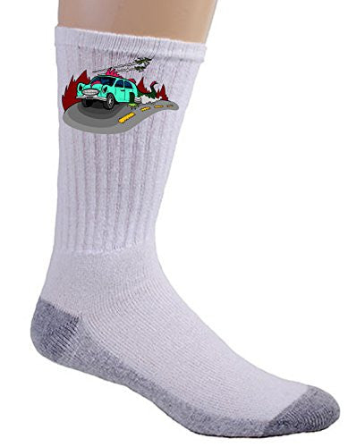 'Dino Car' Funny Dinosaur Lizard Car Cartoon - Crew Socks