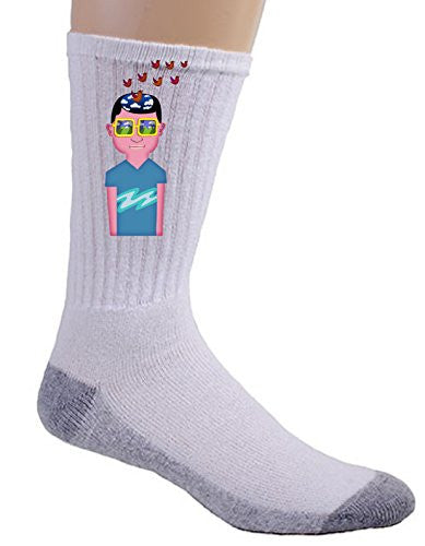 'Day Dreaming Imagine Boy' Artwork Cartoon Guy w/ Birds - Crew Socks