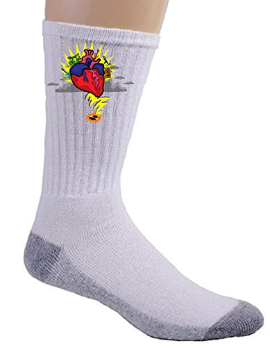 'Rock N Roll Heart' w/ Guitar & Drums Cartoon - Crew Socks