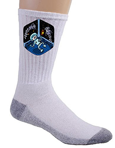'Space Pills' Funny Astronaut Aliens Popping Pills - Crew Socks