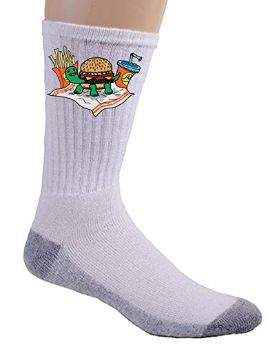 'Turtle Burger' Funny Turtle Shell Bun Burger w/ Fries Meal - Crew Socks