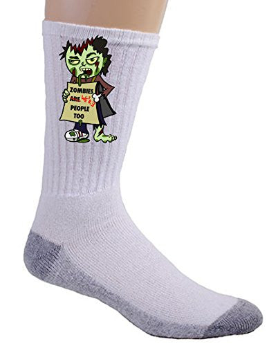 'Zombies Were People' Funny Undead w/ Sign 'We're People Too' - Crew Socks