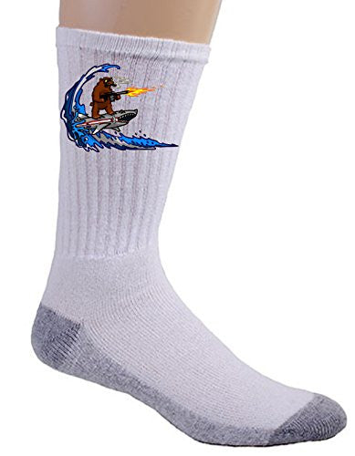 'Shark Surfin Bear' Funny Surfing Animals Humor - Crew Socks